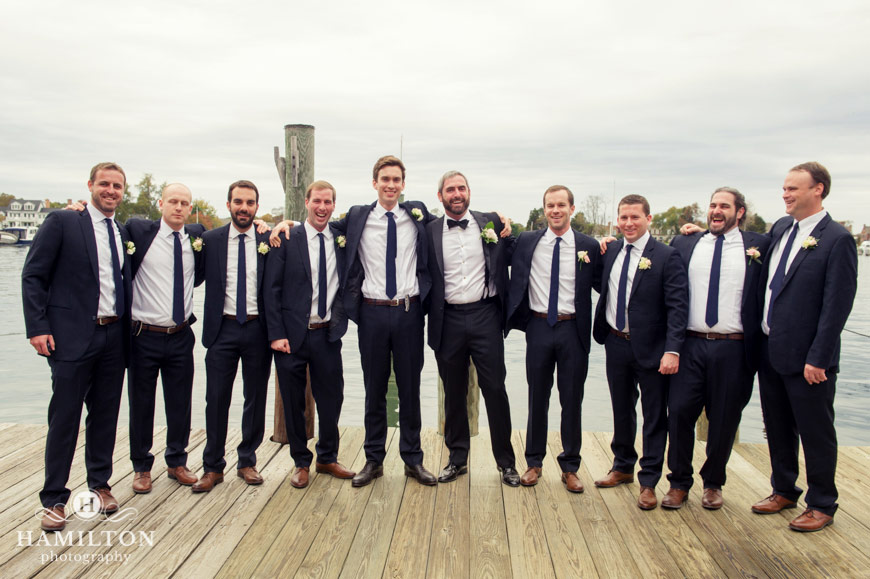 Groomsmen Pose Together At Docks by the Chesapeake