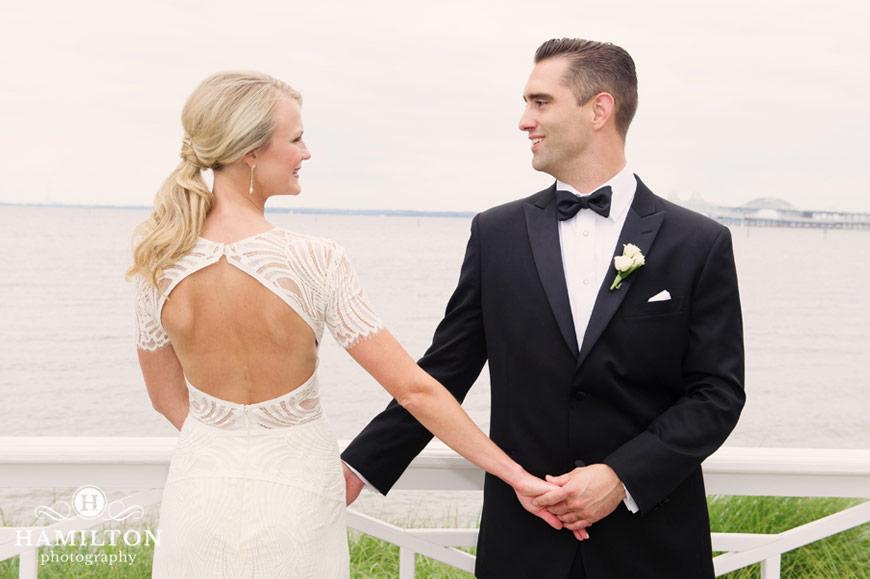 Hamilton Photography Chesapeake Bay Beach Club Wedding Pose Idea For Bride And Groom