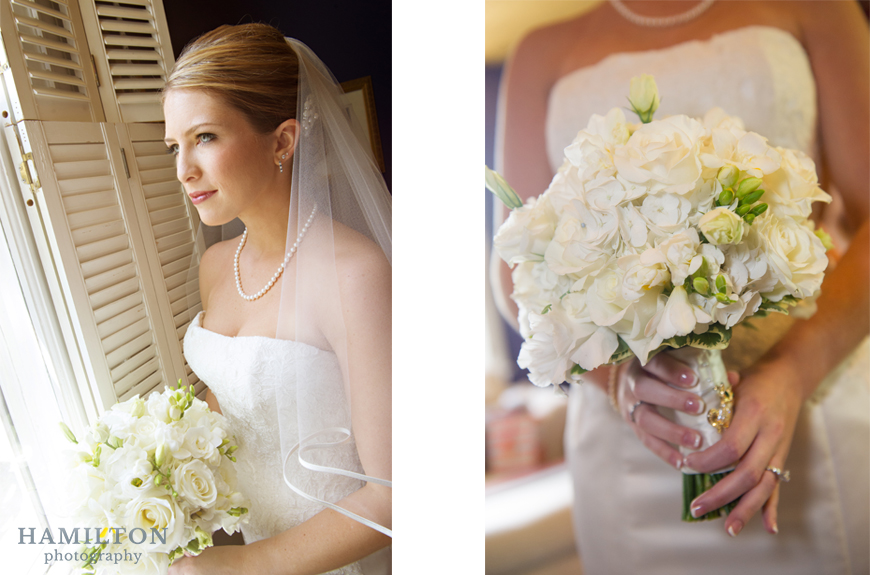 bride by window with cache fleur flowers