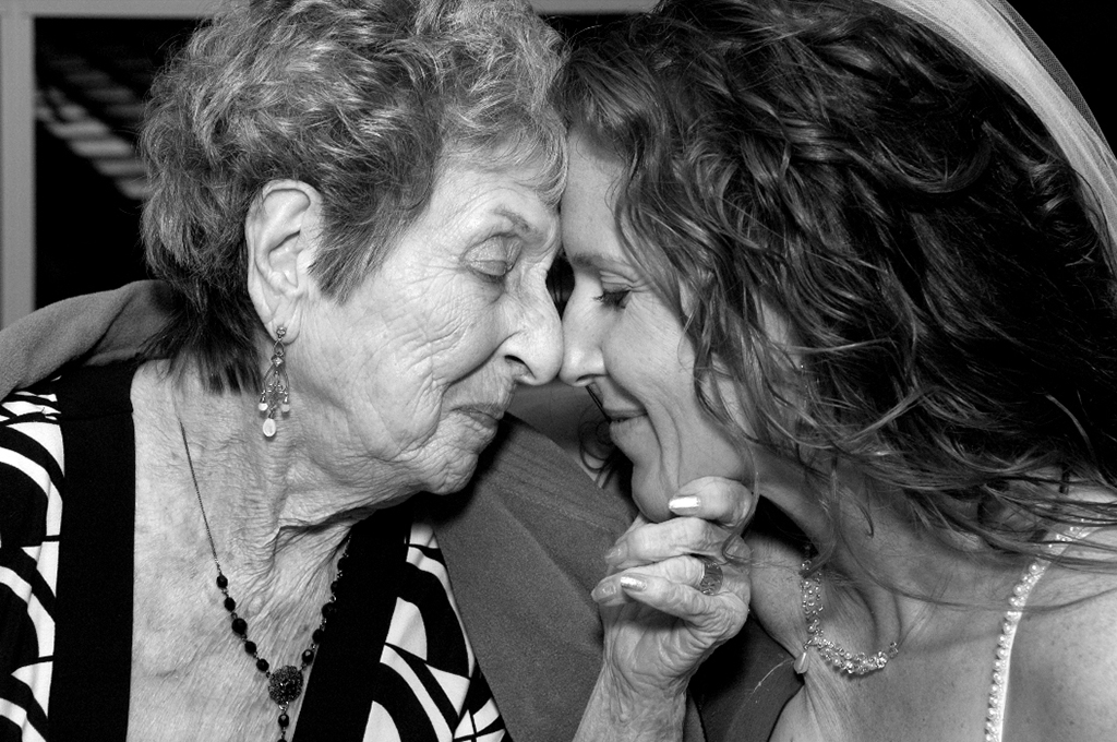 Photojournalistic wedding photography - bride with grandma