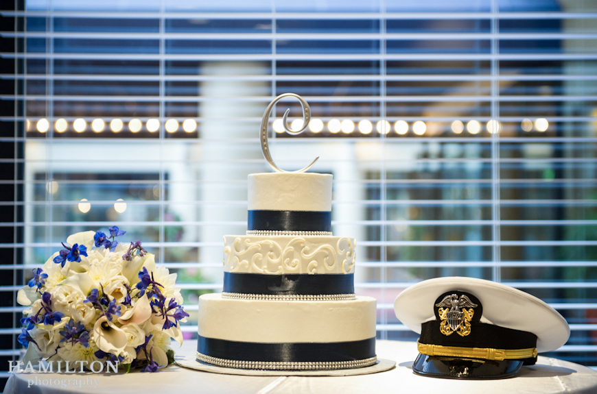 loews hotel annapolis; black and white wedding cake; wedding cake idea; wedding table ideas; cake topper idea