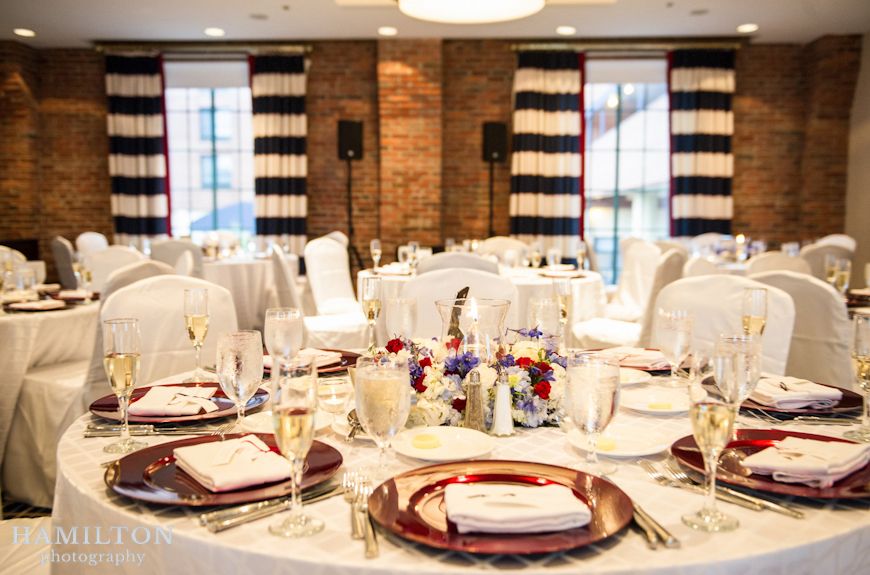 loews hotel annapolis; wedding reception decor; wedding reception photo; purple and red wedding colors; wedding centerpiece ideas
