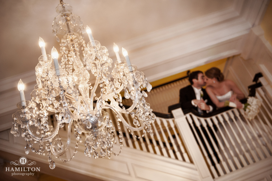 Wedding photo with chandelier