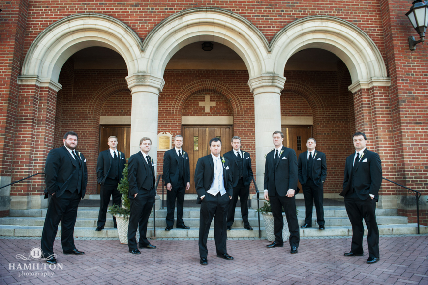 Groom and groomsmen in Annapolis