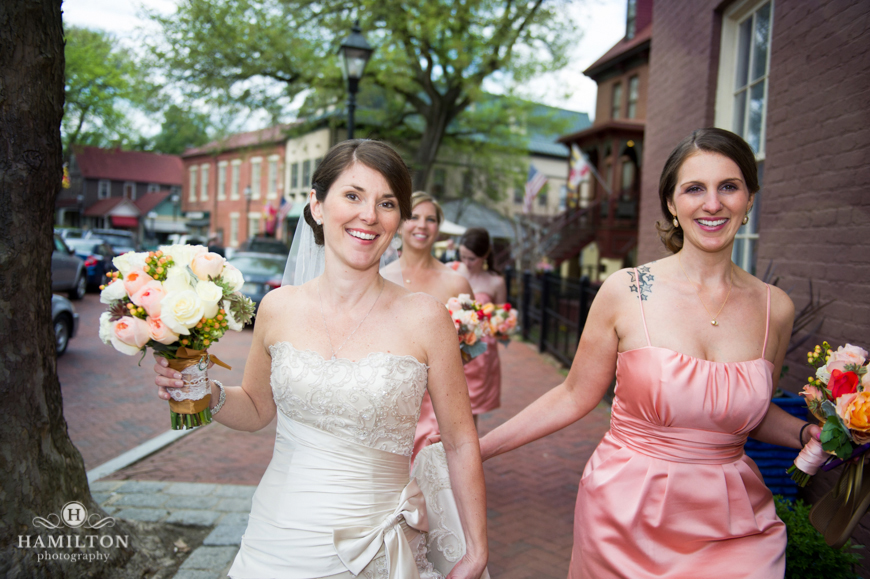 Bridesmaids Escort Bride to Wedding Ceremony