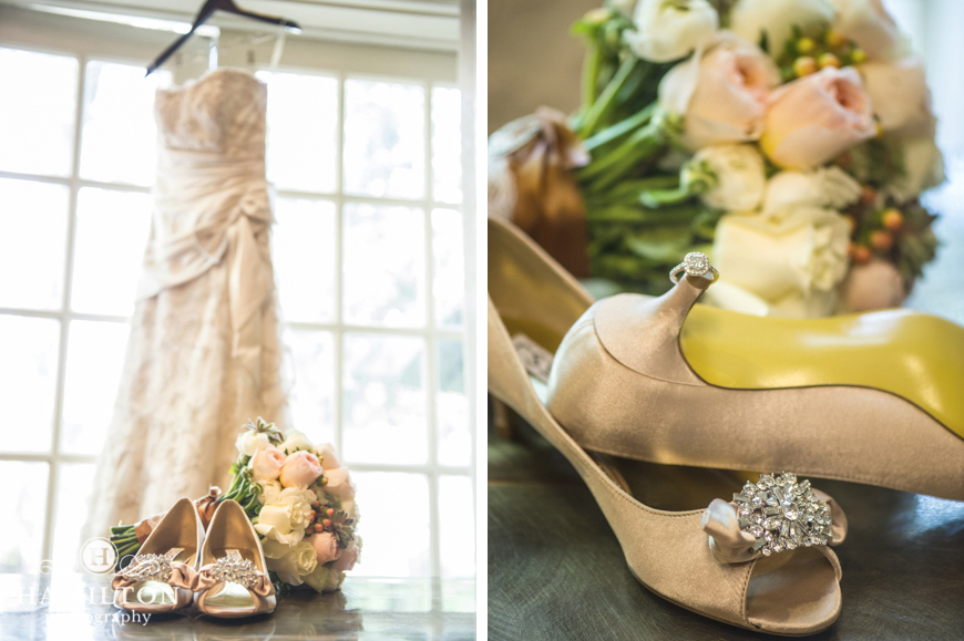 Bride's Shoes, Bouquet, Dress, and Ring