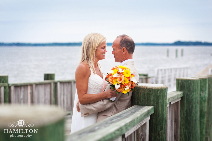 Bride and Groom on Maryland Pier