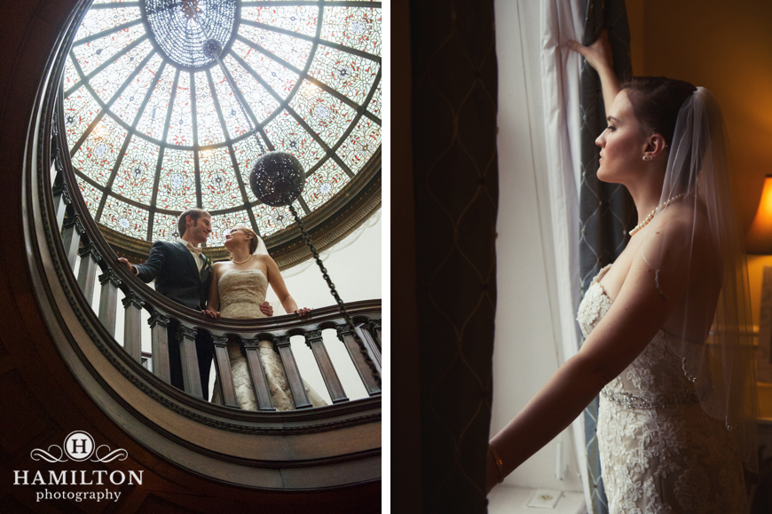 Bride in window light and wedding couple on spiral staircase